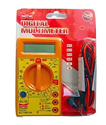Haoyue D830D Digital Multimeter LCD AC DC Measuring Voltage Current, Small, Yellow