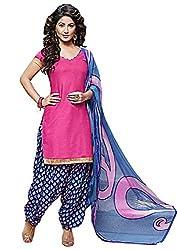 Rudra Textile Women's Pink Cotton Punjabi Suit