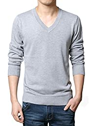 Wantdo Men\'s Solid Collor Pullover Sweater US Large Light Grey