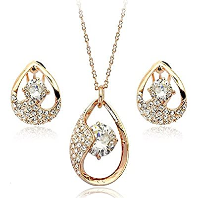 Brilliance Earrings and Pendant Set with Swarovski Crystals in 18ct Rose Gold Finish
