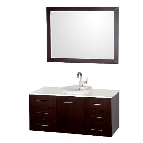 """Wyndham Collection Arrano 48"""" Espreso Single Bathroom Vanity, Semi-recessed Sink & 46"""" Mirror"""