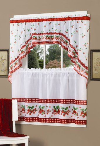 Achim Home Furnishings Strawberry Tier and Swag Set, 57-Inch by 36-Inch, Red (Strawberry Kitchen compare prices)