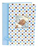 Stephan Baby Keepsake Mini-Dot Photo Brag Book with Ribbon Embellishment, Blue