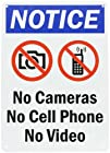 SmartSign Plastic Sign, Legend Notice: No Cameras No Cell Phone No Video with Graphic, 14 high x 10 wide, Black/Blue/Red on White