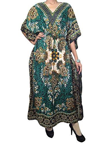 Beach Kaftans Boho Hippy Black Green Floral Maxi Dress Caftans Coverup