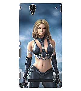 ColourCraft Warrior Girl Design Back Case Cover for SONY XPERIA T2 ULTRA DUAL D5322
