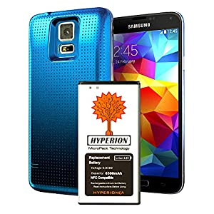 Hyperion Samsung Galaxy S5 / SV (SM-G900) 6400mAh MicroPack Technology Extended Battery with NFC / Google Wallet Capability and Back Cover (Compatible for the Samsung Galaxy S5 / SV) **3 Yr NO HASSLE Warranty** - BLUE