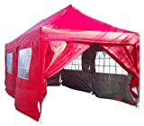 Quictent 3x6 Meter Red Pop Up Gazebo Canopy Silver-coated Waterproof With Sidewalls and Wheel Carry Bag