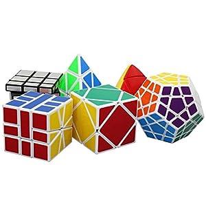 Popular Magic Cube Set - Included Pyraminx, Megaminx, Skewb, Mastermorphix, Square-1 SQ1,3 x 3 Silver Mirror Cube Puzzle 6 Pack