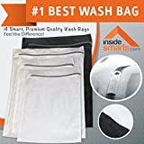 "Delicates Laundry Bags, Premium Quality: Lingerie Bags for Laundry, Set of 4 Garment, Blouse, Hosiery, Stocking, Underwear, Bra & Lingerie Wash Bag. Protect Your Fine Clothes In The Washer With Luxurious, Robust, Zippered Mesh. Extend Garment Life, Safely Separate Colors. 365 Day ""Smart-Wash"" Guarantee!"