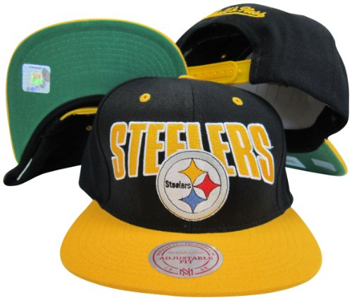 Pittsburgh Steelers Black/Gold Two Tone Plastic Snapback Adjustable Plastic Snap Back Hat / Cap