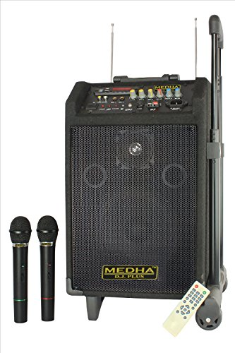 MEDHA Trolley Type PA Personal DJ System also known as Rechargeable Portable Amplifier with Remote-Controlled 2 Wireless Microphones rendering High Volume & power output of 100W with an inbuilt speaker & battery, AC/DC operation, high-frequency FM receiver, LED display, USB/AUX functions & Guitar Input