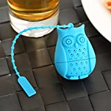 HK Goods - Loose Leaf Owl Tea infuser - Best Silicone strainer - Funny Tea Filters - Cute Tea Infuser Design - Set In Bright Colors (Set of 6) - No Tea Leafs In Your Cup - Don't Sleep - Drink Tea