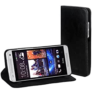 EasyAcc® HTC ONE Mini Flip Case Cover Tasche Schutzhülle Hülle Book Case Ledertasche für HTC ONE Mini M4 mit Saugnapf - PU Leder, Schwarz