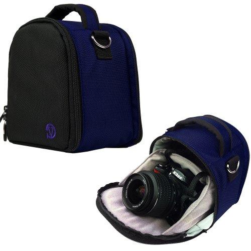 VanGoddy Laurel Custodia Borsa in Poliestere con Tracolla per Fotocamera Borsa Messenger per SLR DSLR Reflex Bridge Fotocamere (Blu)