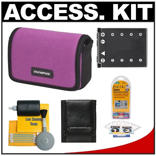 Olympus Water-Resistant Sport Neoprene Case (Plum) + LI-42B Battery + Accessory Kit for FE-5010, FE-5040, FE-5050, Stylus 5010, 7010, 7030, 7040, TOUGH 3000 Digital Cameras