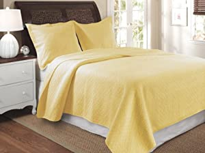Greenland Home Vashon Full/Queen Quilt Set, Yellow