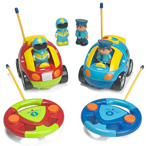 Prextex-Pack-of-2-Cartoon-RC-Police-Car-and-Race-Car-Radio-Control-Toys-for-Kids-Each-with-Different-Frequencies-So-Both-Can-Race-Together