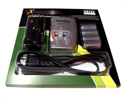 Extremebeam Flashlight Cr123 Charging Kit (One 120-240V Cr123 Charger, 4 Cr123 Lithium Batteries, Auto/Car Adapter)