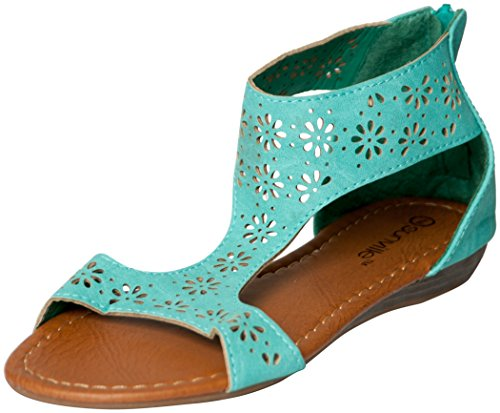 Womens Roman Gladiator Perforated Sandals Flats 3 Colors (8, Mint 81001)
