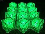 MF 光る氷 LED タイプ 12個入 説明書・保証書&収納袋付き自動 ON/OFFタイプ 厳しい二重検品合格済 (グリーン, キューブ型)