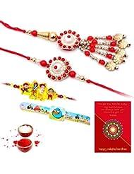 Ethnic Rakhi Designer Colorful Floral Pattern Fashionable And Stylish Bhaiya Bhabhi Mauli Thread And Beads Rakhi... - B01IIMHAKE