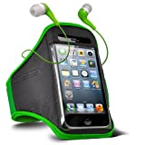 Fone-Case Samsung E2121B Adjustable Sports Fitness Jogging Arm Band Case & 3.5mm In Ear Earbud Base Earphones (Green)