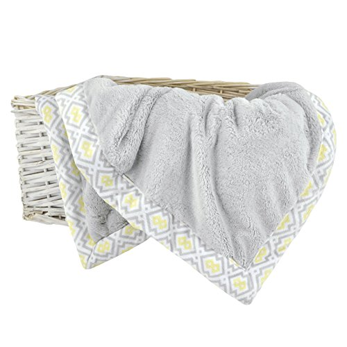 Just Born Plush Blanket, Grey/White/Yellow