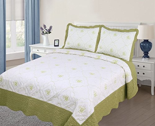 3PC Quilted / Embroidered Bedspread - Sage (Twin Size) (Twin Quilted Coverlet compare prices)