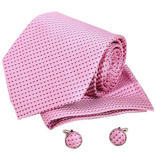 H5099 Pink Paisley Popular Valentines Presents For Boyfriends Silk Tie Cufflink Hanky Set 3PT By Y&G