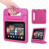 MoKo Amazon Kindle Fire HD 7 2014 Case - Kids Shock Proof Convertible Handle Light Weight Super Protective Stand Cover Case for Amazon Kindle Fire HD 7 Inch 2014 Tablet, MAGENTA