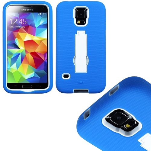 Mylife (Tm) Deep Sky Blue And Snow White - Shock Suit Survivor Series (Built In Kickstand + Easy Grip Silicone) 3 Piece + 2 Layer Case For New Galaxy S5 (5G) Smartphone By Samsung (External Flex Silicone Bumper Gel + Internal 2 Piece Rubberized Snap Fitte