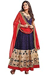 Vibes Women Georgette Salwar Suit Dress Material (V157-1203 _Blue _Free Size)