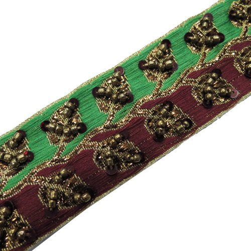 Hand Bead Ribbon Trim Maroon Green Sequin Craft 1 Yard