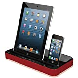 Ipega Speaker and Charger Dock Docking 2 in 1 Stand Mount Cradle Multi-function Docking Station with Dual Charger Adapter for Iphone 5/4/4sipad 2/3/4/ipad Mini Samsung S3 Samsung S4 Mp3 Mp4 Device Red