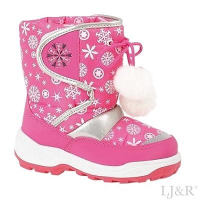 Girls Snowflake Pink Winter Warm Snow Boots