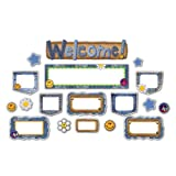 Design It Denim Mini Bulletin Board Set - Includes 1 Die-Cut Welcome Sign, 15 Die-Cut Patches and 12 Die-Cut Blanks.