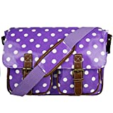 Floral Polka Dots Ladies Oilcloth Satchel Messenger Shoulder Hand School Bag (Purple Polka Dots)