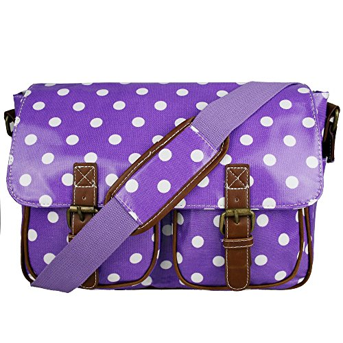 Miss Lulu Women's Oilcloth Satchel Bag Polka