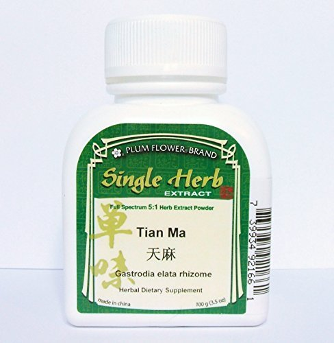 Gastrodia Elata Rhizome Root Herb Extract Powder / Tian Ma, 100g or 3.5oz by Plum Flower