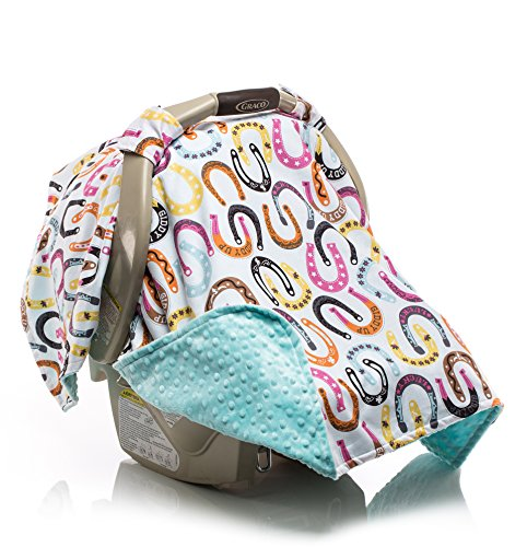 Elonka Nichole Baby Girl Car Seat Canopy, Lucky Lady Horseshoe - 1