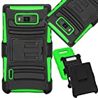 SOGA® For LG Optimus Showtime L86C L86G Straight Talk / LG Splendor Venice US730 Straight Talk, U.S. Cellular, Boost Mobile, Sprint Hybrid Hard Heavy Duty Case Skin Phone Cover with Belt Clip Holster Kickstand - Black / Neon Green [SWA33]