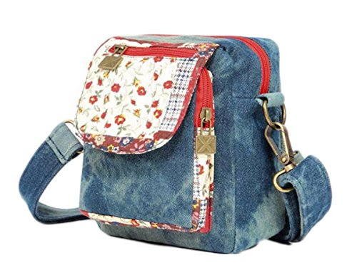 Multi tasche Zip leggero Cross Body Bag Borsa a tracolla Messenger Bag, 4 Donna Style, (Colore 2), Mittel