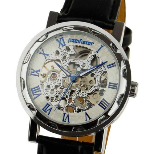 Semi Automatic Pacifistor Mens Mechanical Analog Wrist Watch-White Dial