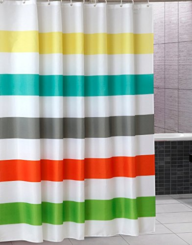 Uphome Colorful Rainbow Cross Stripe Pattern Bathroom Shower Curtain - Waterproof Polyester Fabric kids Decorative Curtain Ideas (72