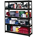 "Edsal UR60-BLK Heavy Duty 16-Gauge Steel Boltless Shelving with 5 Shelves, 5000 lbs Capacity, 60"" Width x 72"" Height x 18"" Depth, Black"