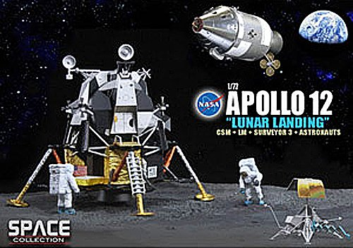 Dragon Models 1/72 Apollo 12 Lunar Landing, CSM and Lunar Module Intrepid and Surveyor 3 and Astronauts astronauts level 1