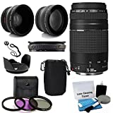 Canon EF 75-300mm f/4-5.6 III Telephoto Zoom Lens USA Warranty for Canon Digital SLR Camera With 2X Telephoto Lens + HD Wide Angle Lens + 3 PC Filter Lens Kit Deluxe Accessory Bundle And Much More