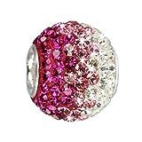 SilberDream Glitzer Bead Swarovski Kristalle pink ICE SilberDream Silber Beads für Bettelarmbänder GSB004