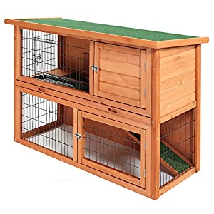 Smithbuilt 48 wooden two story rabbit hutch for Super pet hutch